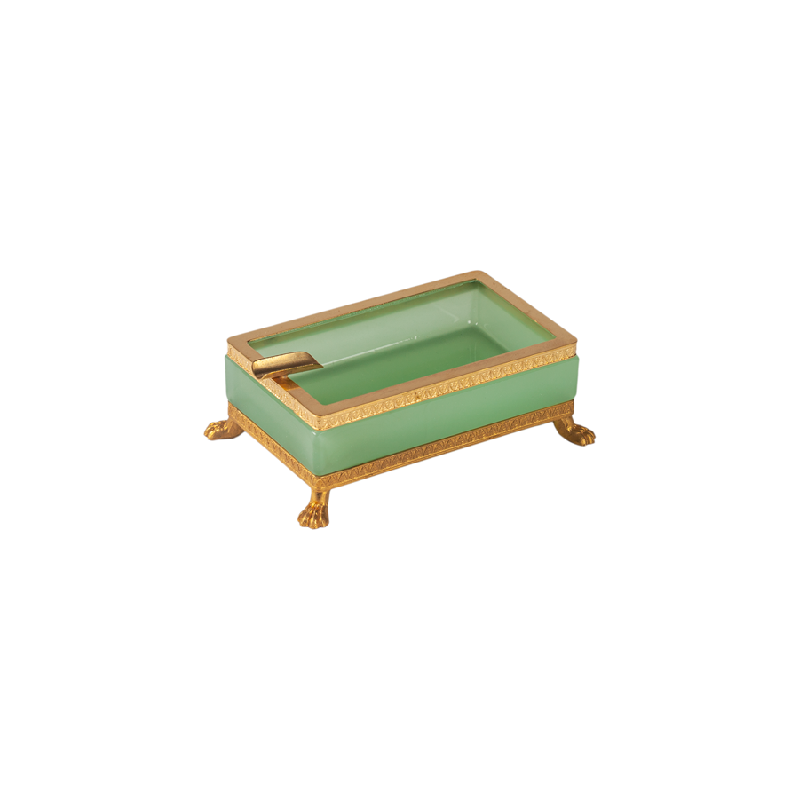 Italian Opaline Ashtray with Gold Trim - Footed