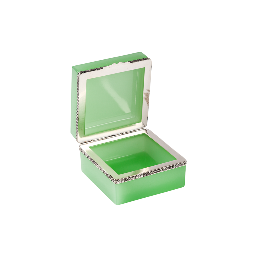 Green Opaline Box with Silver Detailing