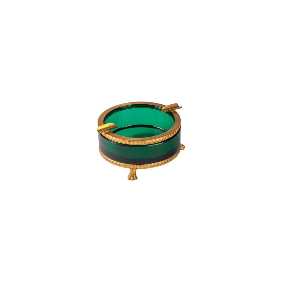 Italian Round Emerald Ashtray with Brass Trim - Footed