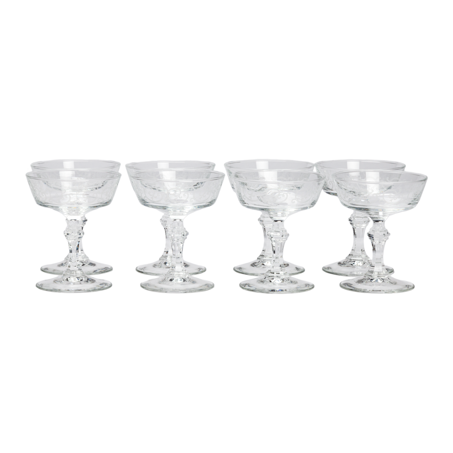 Etched with Champagne Coupes  - Set of 8