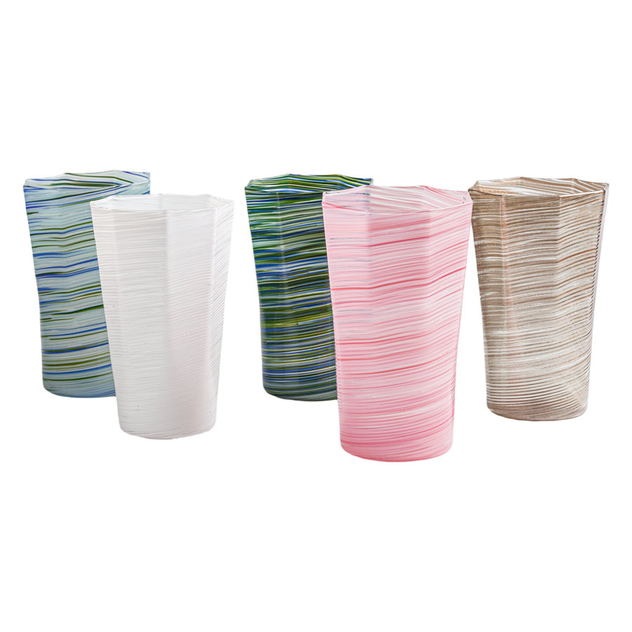 Textured Octagonal Glass Tumbler - Tall