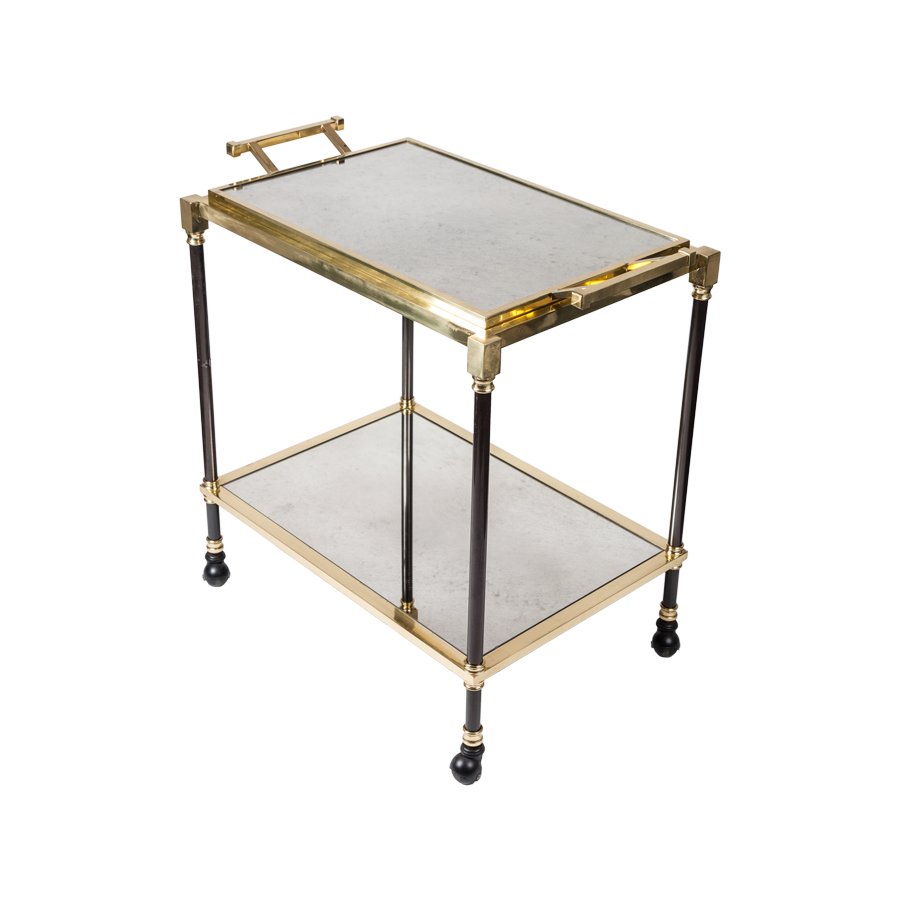 Vintage Brass Bronze Antiqued Mirror Bar Cart with Tray