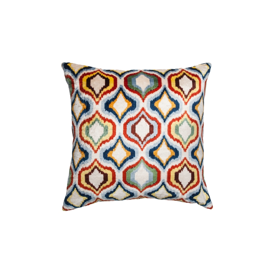 Vintage Silk Velvet Ikat Pillow - Medium Square Multicolor