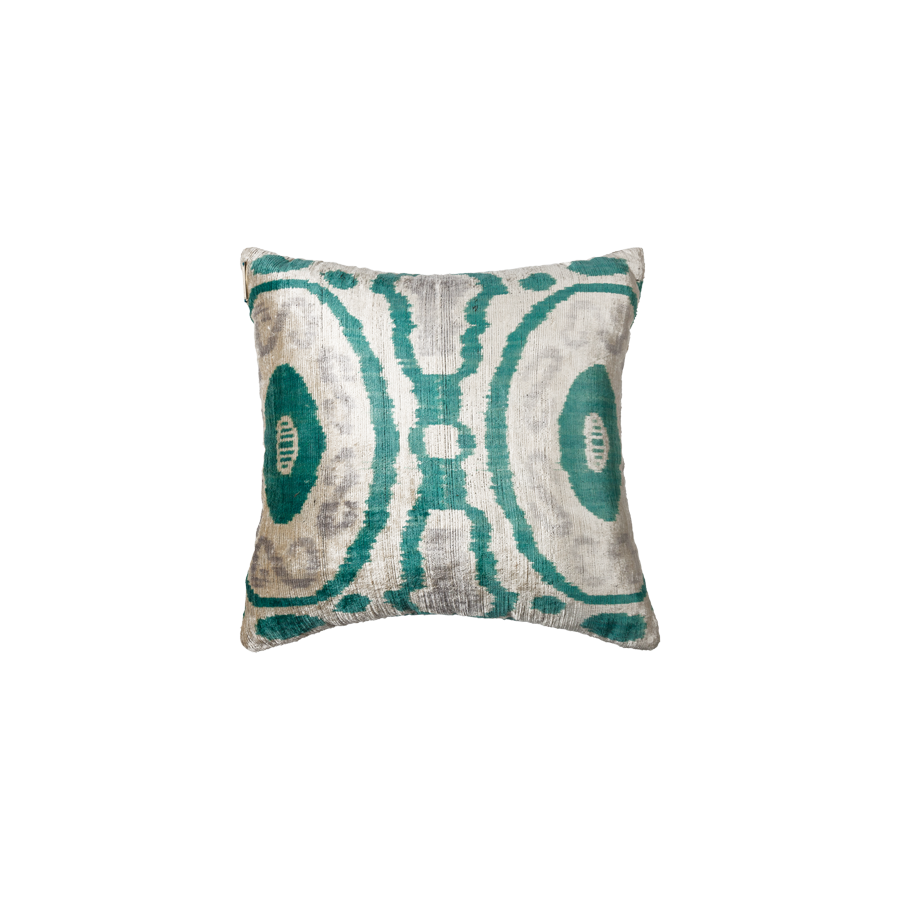 Vintage Silk Velvet Ikat Pillow - Square Teal - Grey