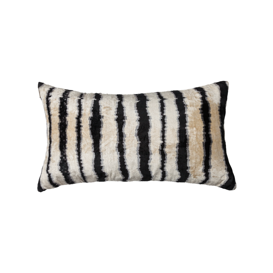 Vintage Silk Velvet Ikat Pillow - Medium Rectangle Black and Cream Stripe