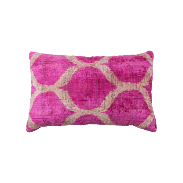 Vintage Silk Velvet Ikat Pillow - Medium Rectangle Hot pink/Silver