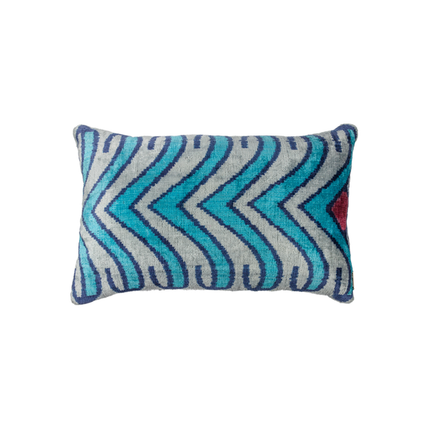 Vintage Silk Velvet Ikat Pillow - Medium Rectangle Turquoise/Red/Silver