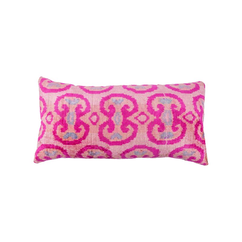 Vintage Silk Velvet Ikat Pillow - Medium Rectangle Light pink/Hot pink/Grey