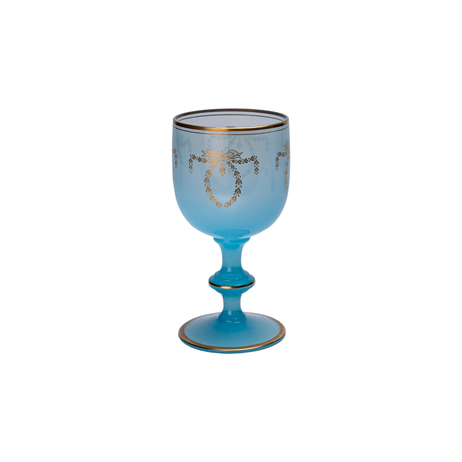 French Portieux Vallerysthal  Blue Opaline Goblet