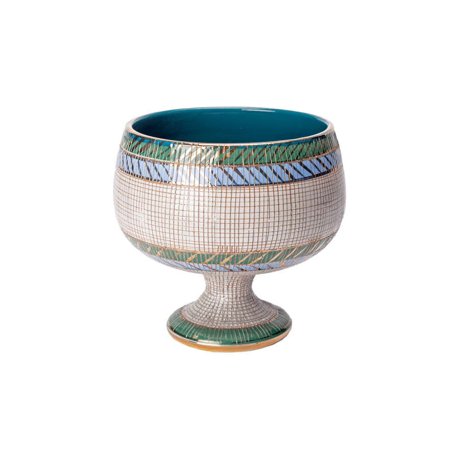 Aldo Londi Bitossi Blue, Green, Teal and Gold Seta Pedestal Vase