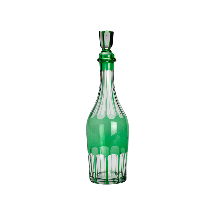 Green Cut Crystal Decanter - Victorian