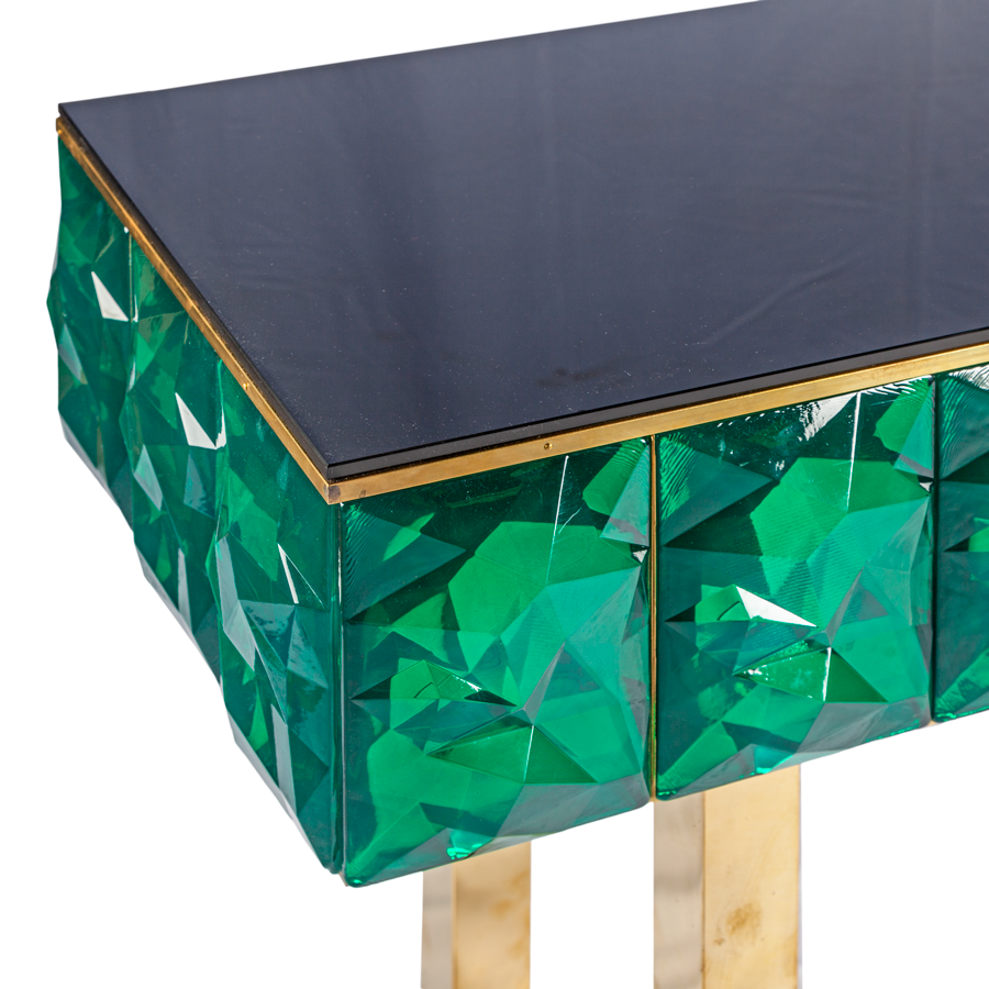 Green Murano Glass and Brass Italian Console