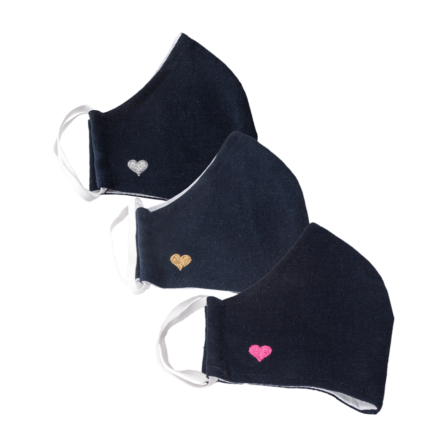 Double Hearts Linen Face Cover