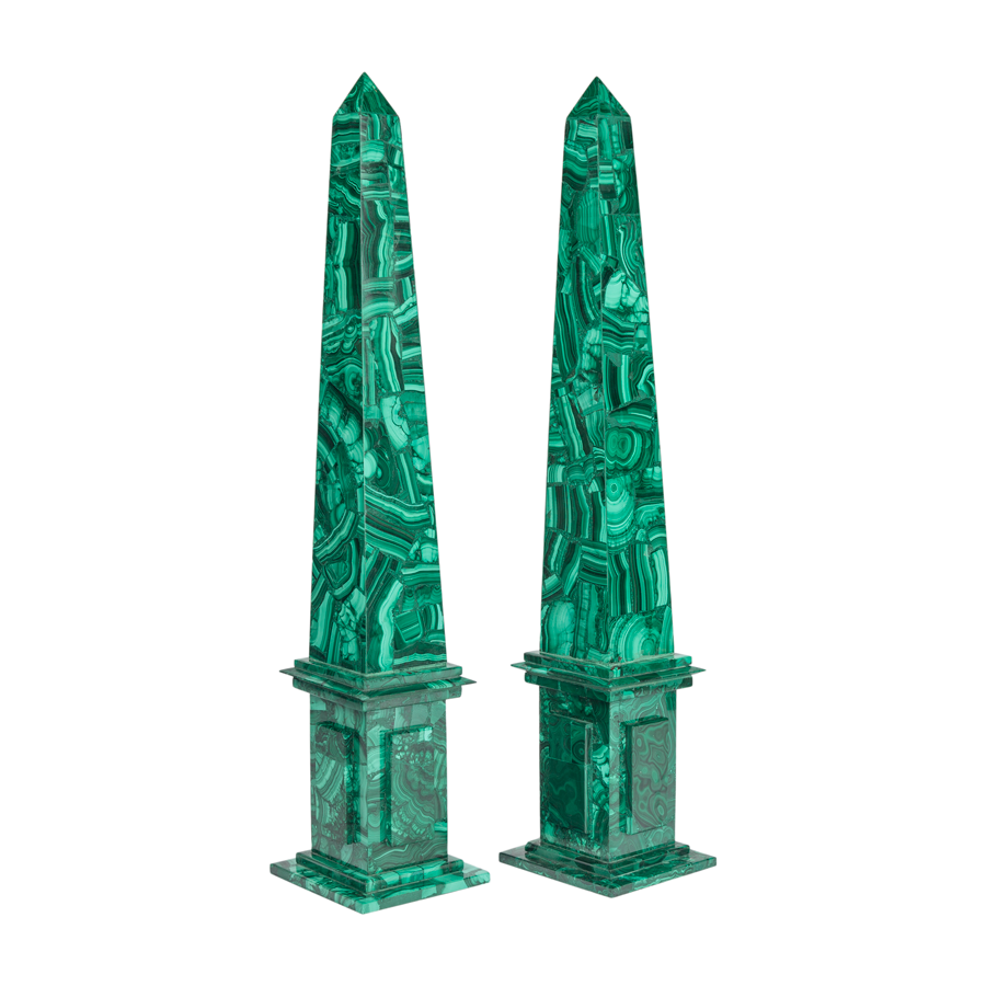 Malachite Obelisks with Stepped Base