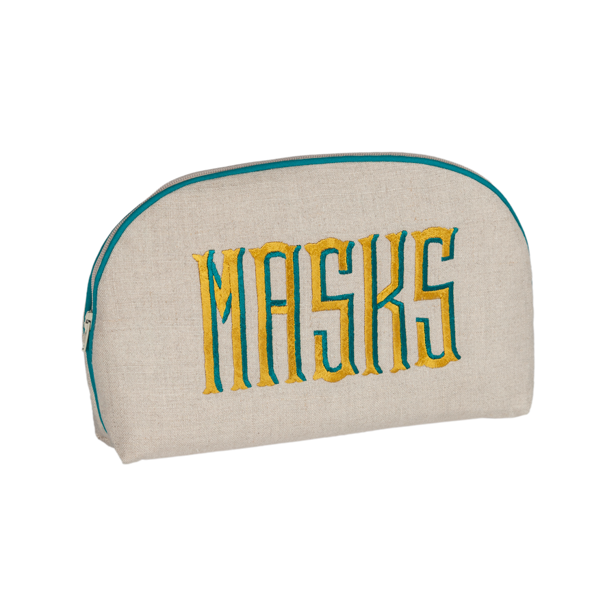 Embroidered Round Pouch - Mask