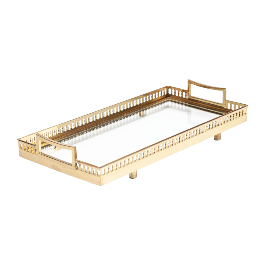 Brass and Glass Serving Tray - Small