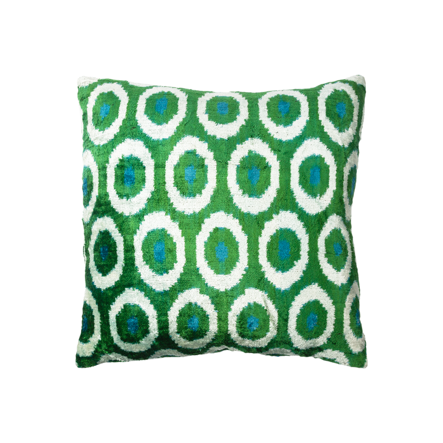 Vintage Silk Velvet Ikat Pillow - Medium Square Green/Blue Circle/Dot