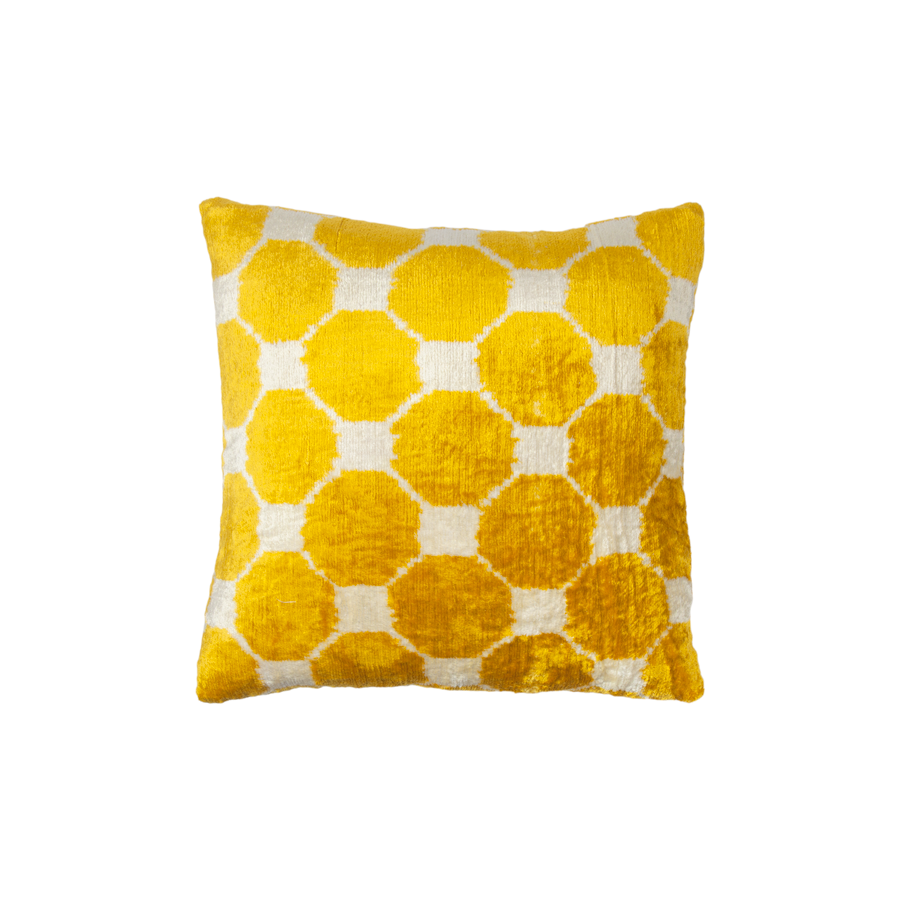 Vintage Silk Velvet Ikat Pillow - Small Square Gold Octagon