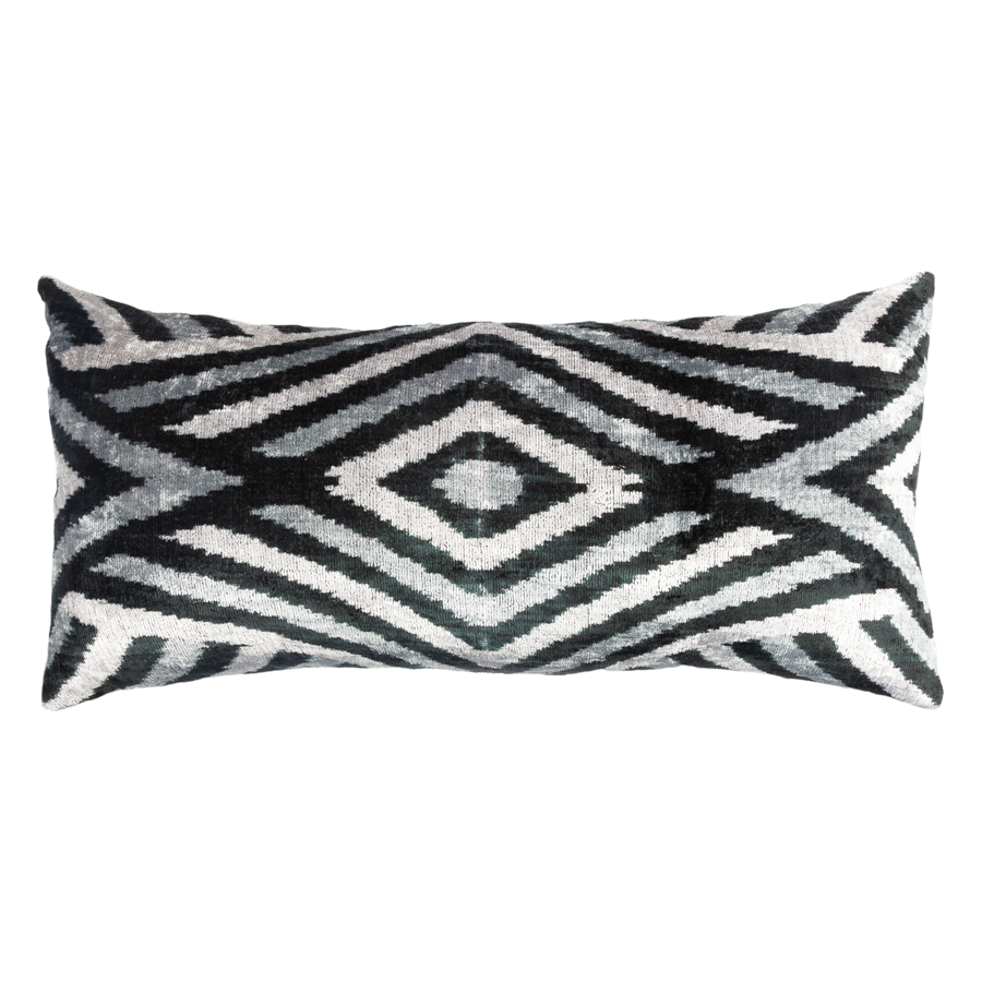 Vintage Silk Velvet Ikat Pillow - X Large Rectangle Black/Silver Diamond