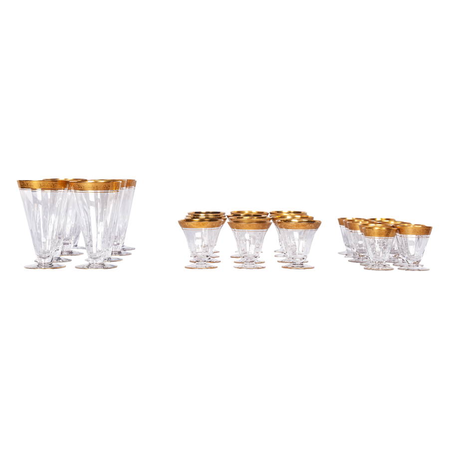 Water Glasses with Gold Rim - Set of 9