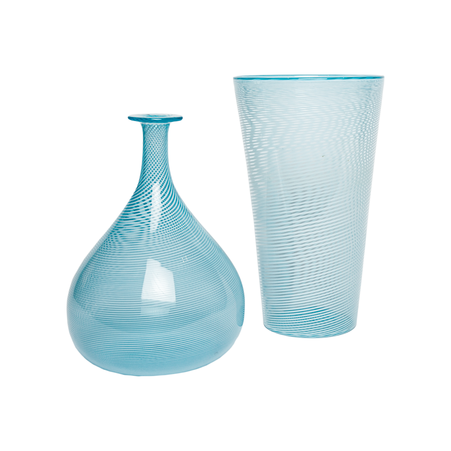 Murano Striped Blue Vases by Davide Di Fuin