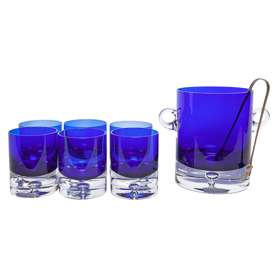 Cobalt Block Crystal Double Old Fashioned Glasses with Ice Bucket - Set of 7