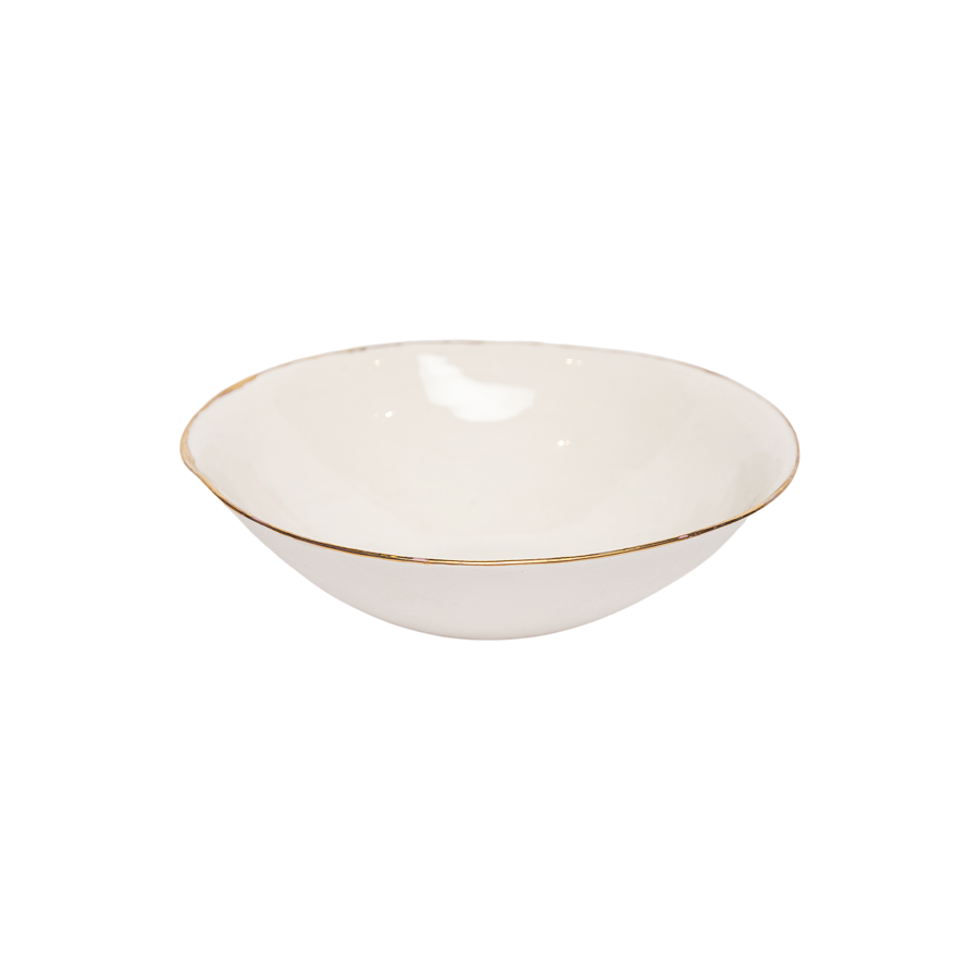 Italian Raw Porcelain Bowl - Gold Rim Bowls