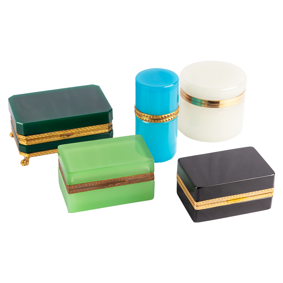 Green Opaline Box with Brass Detailing
