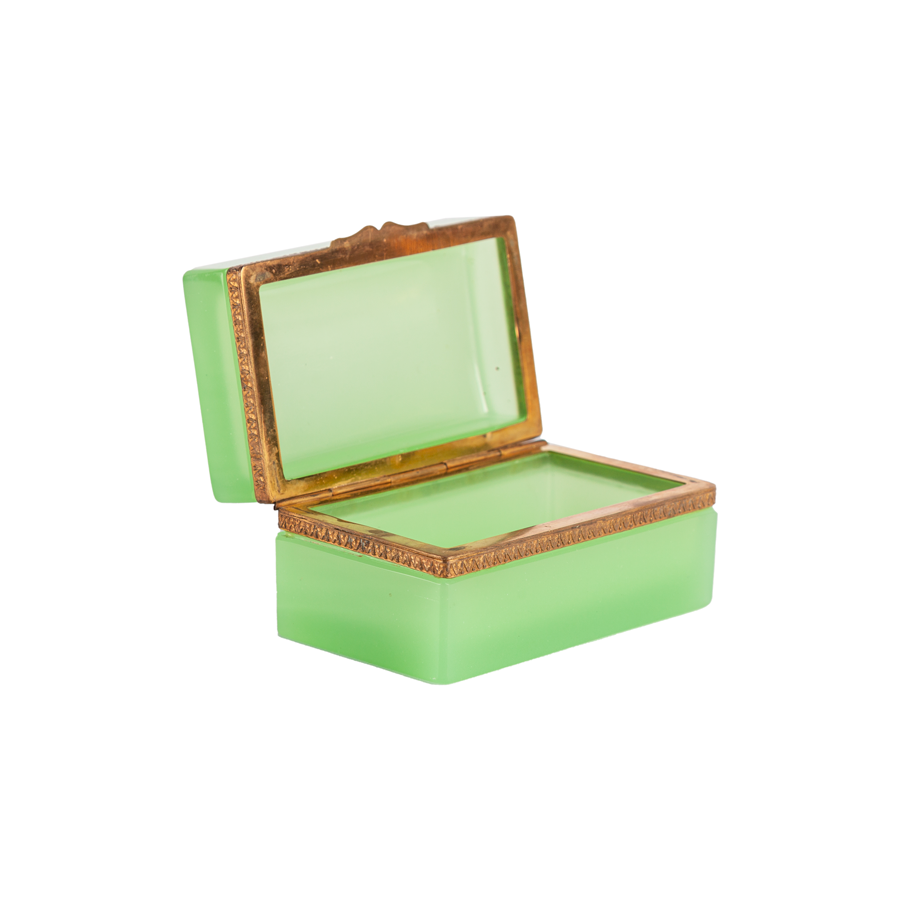 Citron Empoli Opaline Box with Brass Detailing