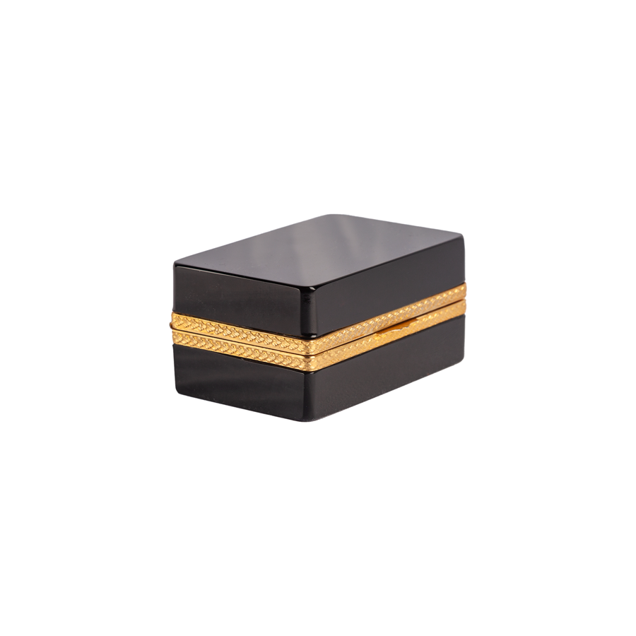 Black Opaline Box with Brass Detailing