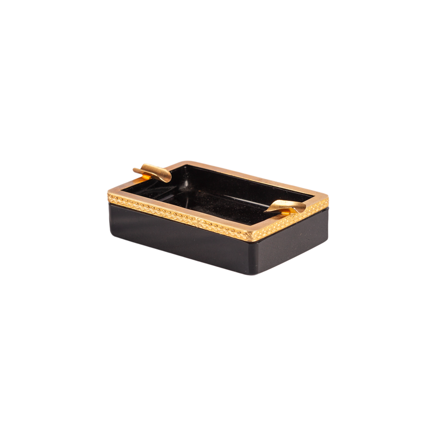 Black Opaline Ashtray with Gold Trim