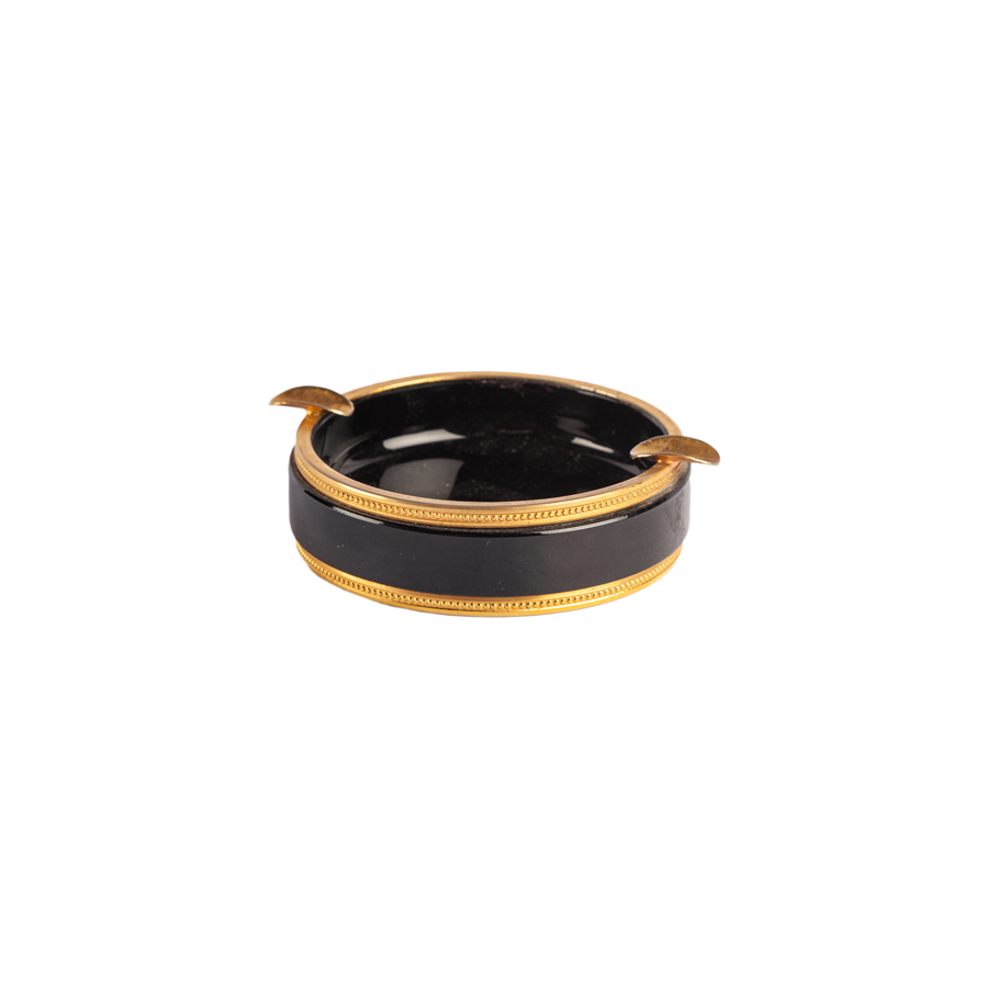 Black Italian Opaline Round Ashtray with Brass Trim