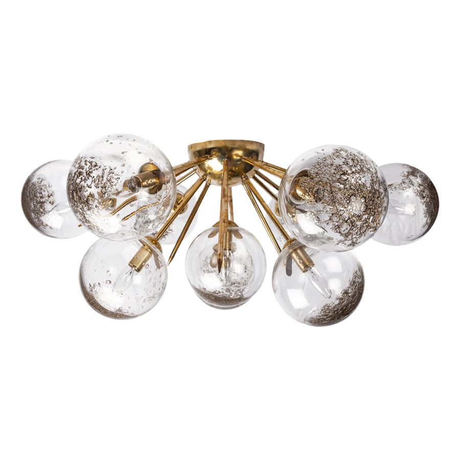 Brass Half Sputnik Chandelier with Murano Glass Balls