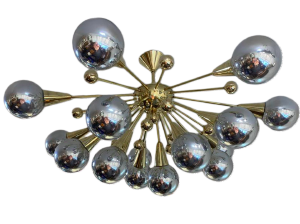 Vintage Silver and Brass Half Sputnik Chandelier with Mercury Glass Balls, c. 1970s-1980s