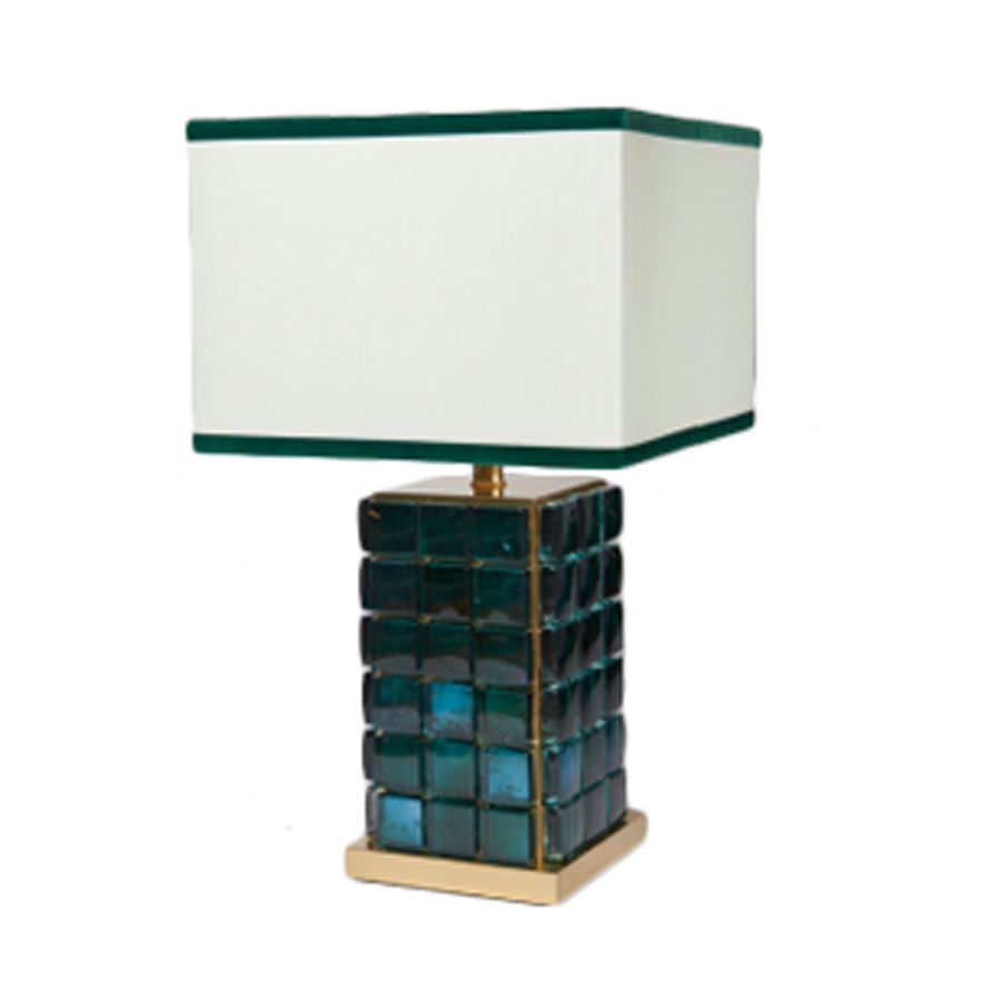 Set of 2 Abstracted Murano Blue Glass and Brass Table Lamps