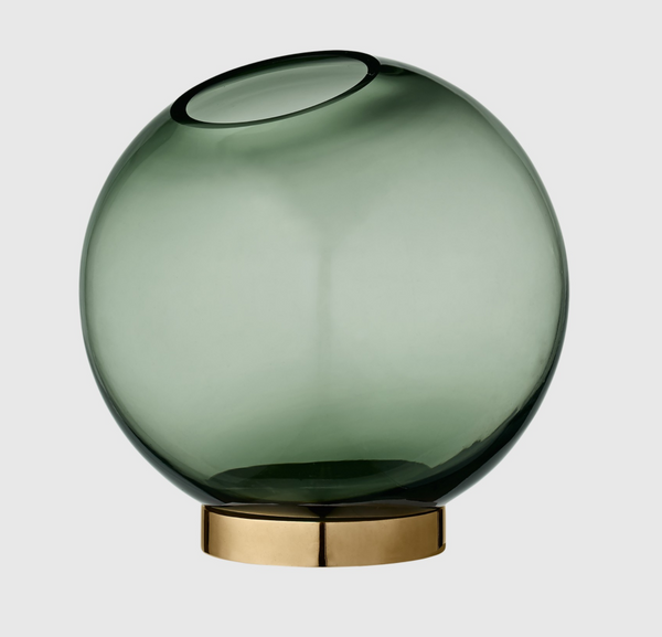 Round Glass Vase with Brass Stand