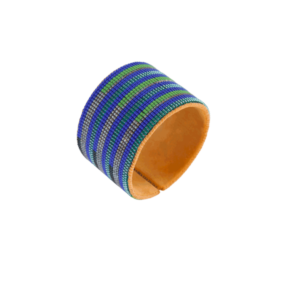 Hand Beaded Cuff - Stripes