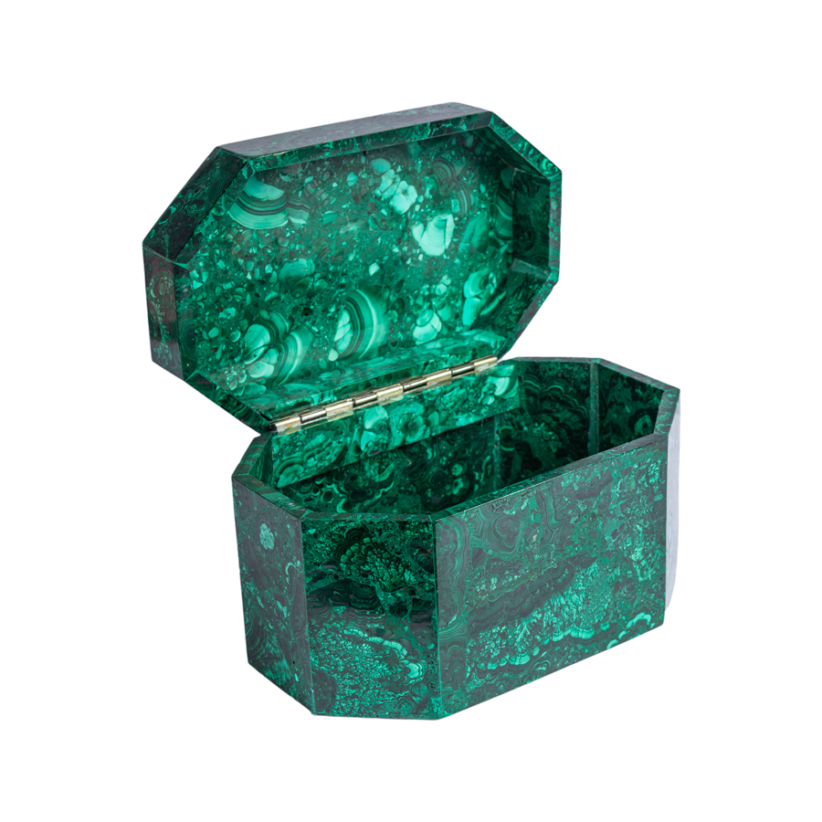 Large Malachite Coffin Box