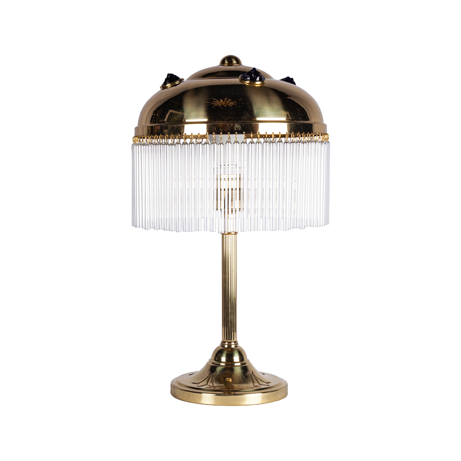Austrian 1920s Art Deco Crystal & Brass Table Lamps