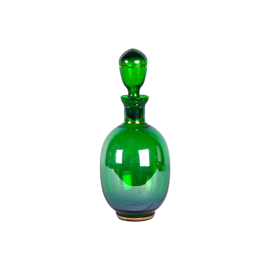 Opalescent Green and Gold Decanter - 1950s