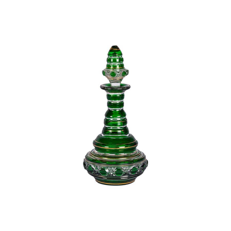 Green Cut Crystal Cordial Decanter