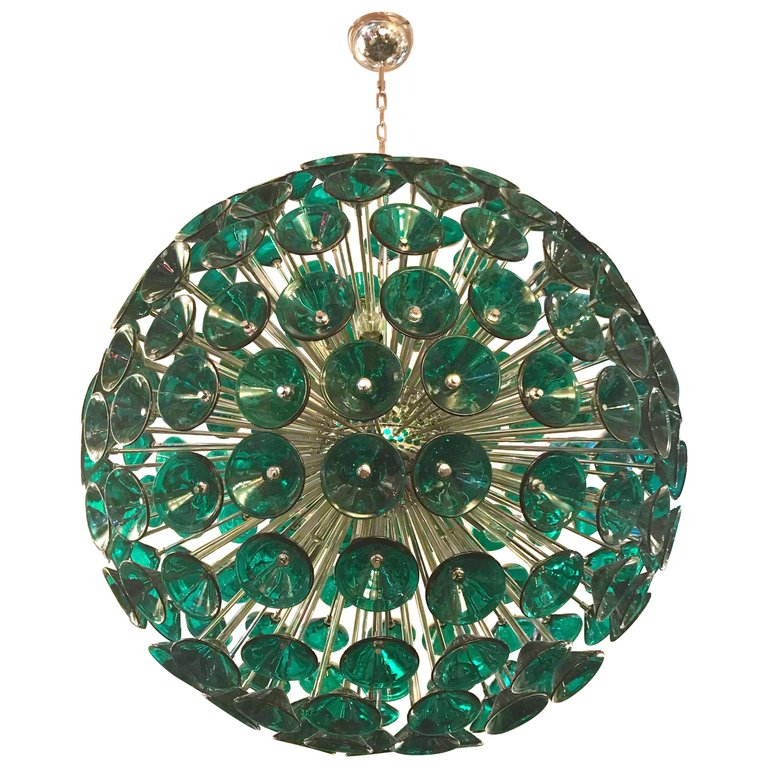 Vintage Sputnik Chandelier in Brass and Green Glass Trumpets