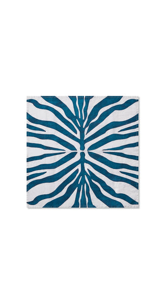 Zebra Linen in Petrol Blue