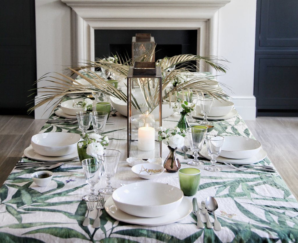 Les Palmiers Linen Tablecloth by Summerill & Bishop