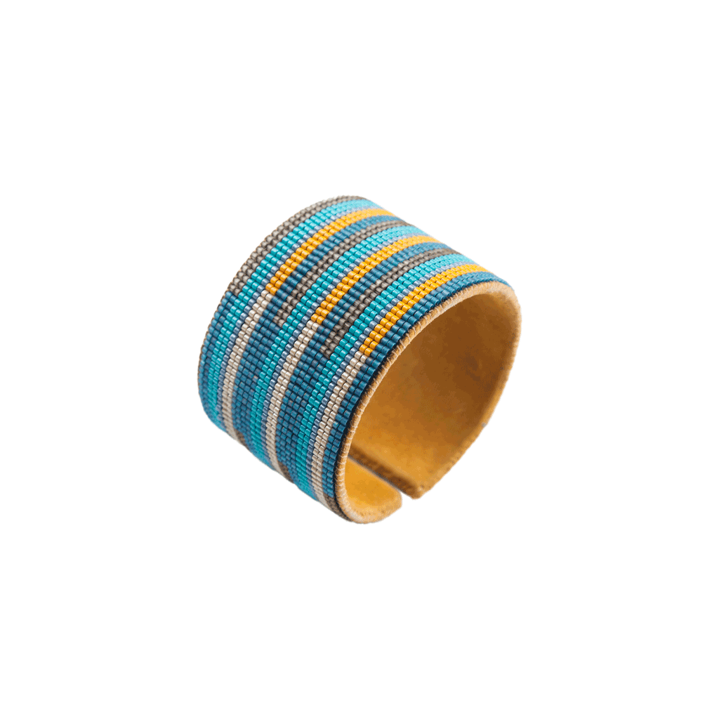Hand Beaded Cuff - Stripes Turquoise/Blue/Yellow