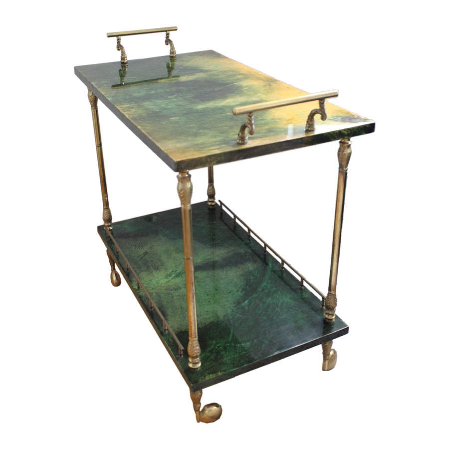 Aldo Tura Green Bar Cart
