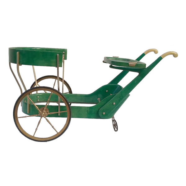 Aldo Tura Green Large Trolley Bar