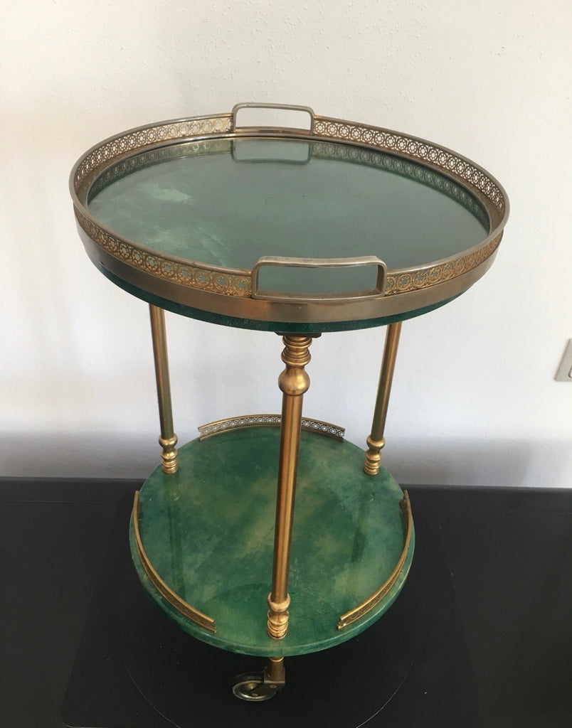 Vintage Green Aldo Tura Bar Cart