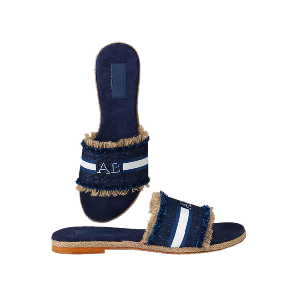 Monogram Stripe Denim Slide