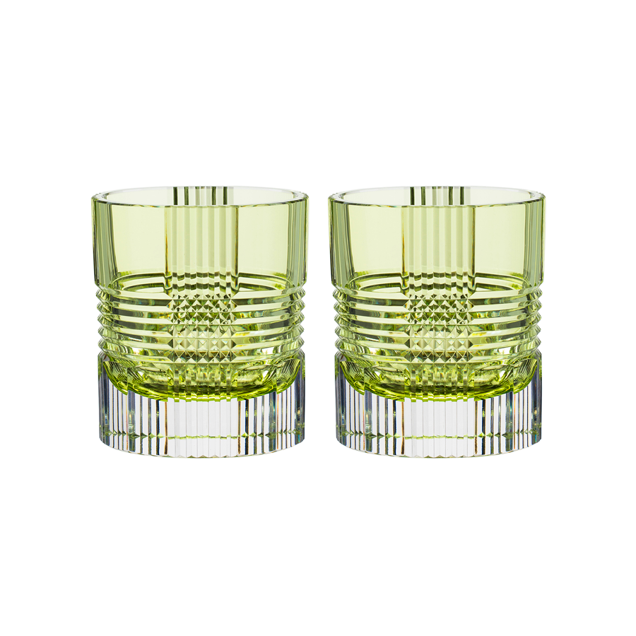Viden Double Old Fashioned Glasses in Chartreuse , Set of 2 by Artel
